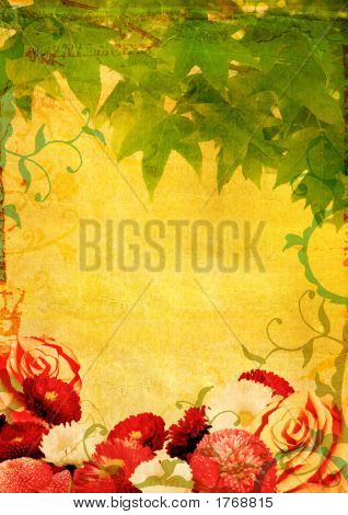 Grunge Flowers And Leaves Background