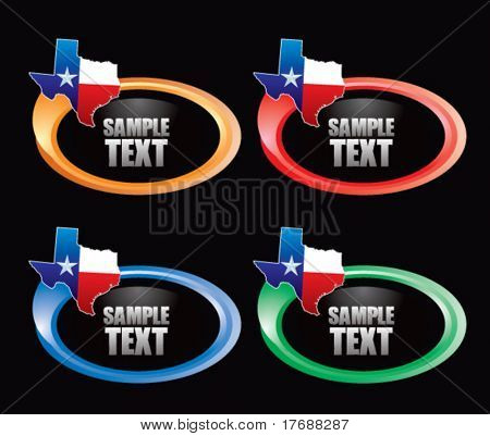 lonestar state icon on colored swoosh banners