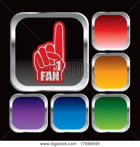 number one fan foam hand on square multicolored web button