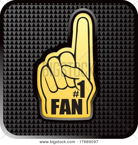 number one fan foam hand on glossy web button