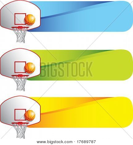 basketball hoop and backboard on colored tabs