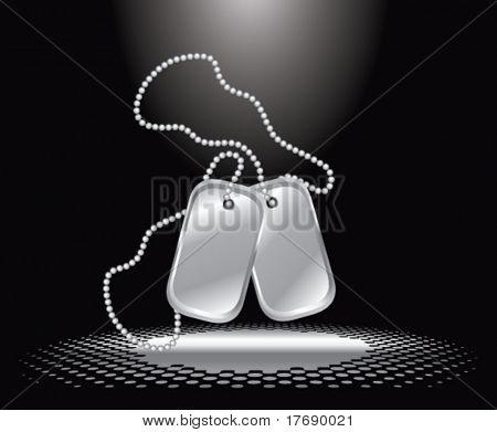 dog tags under spotlight