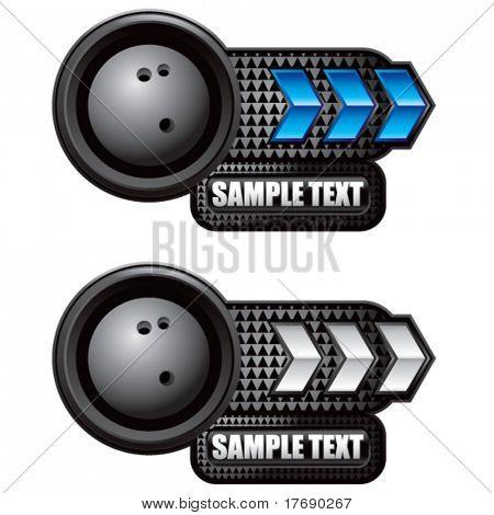 bowling ball on glossy arrow web button