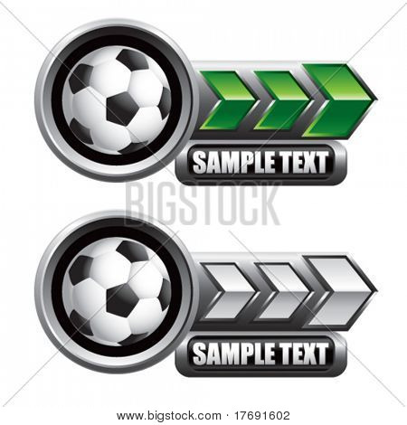 soccer ball on glossy arrow web button