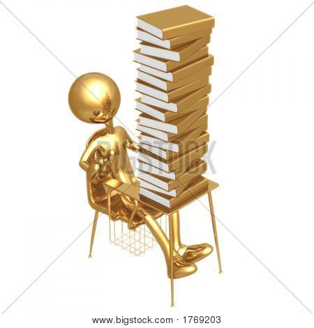 Little Golden Student Shocked By Large Stack Of School Books