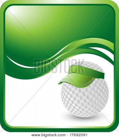 golf ball with visor on green wave background
