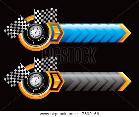 speedometer and checkered flags on orange lined arrow banner