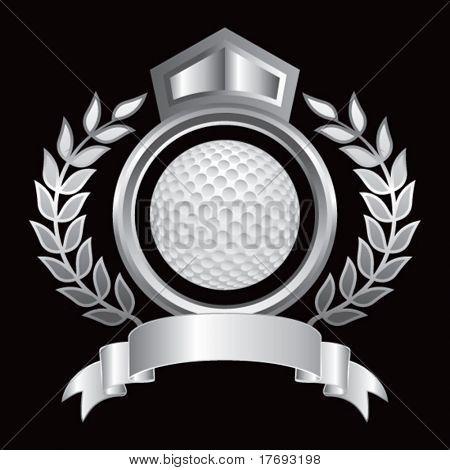 bola de golfe no royal emblema floral
