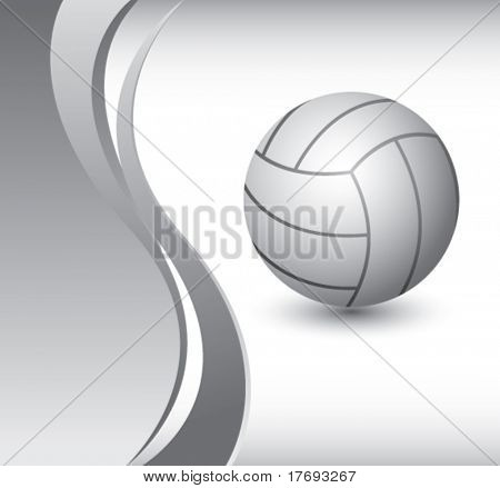 volleyball on vertical wave background