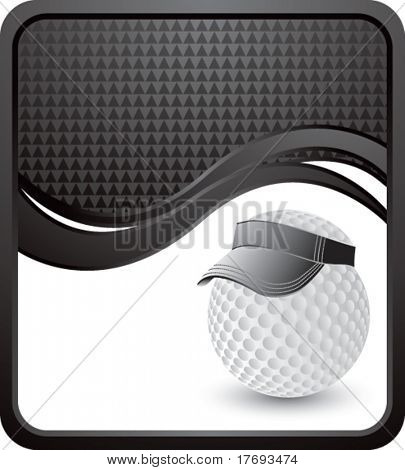 golf ball with visor on wave background