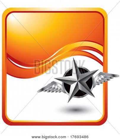 flying silver star on orange wave background