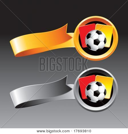 soccer ball with red and yellow cards on web banner ribbons