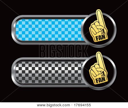 fan hand on checkered blue and black tabs