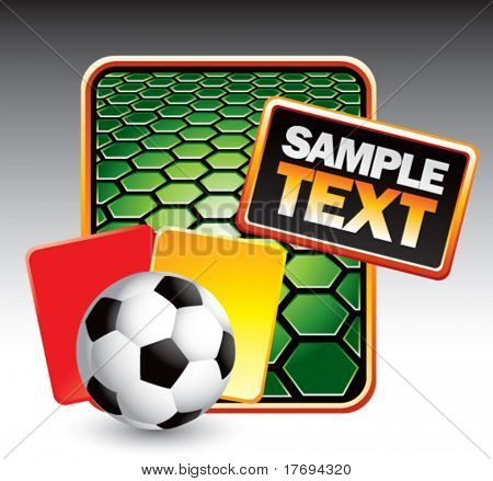 soccer ball with red and yellow cards on green hexagon banner