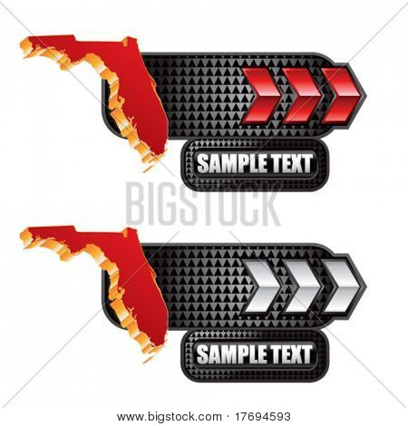 florida state shape on red and silver arrow tabs