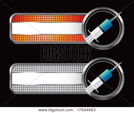 needle syringe on specialized banners