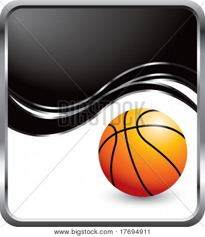basketball on modern style wave background