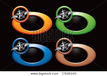 flying silver star on circular ring templates