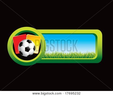 soccer ball with red and yellow cards on countryside tab