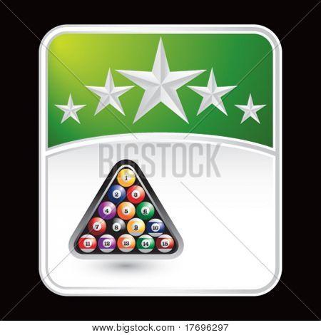 bolas de billar sobre fondo de estrella