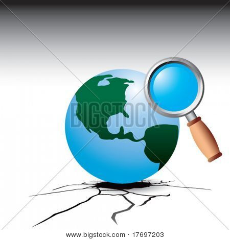 earth and magnifying glass on broken ground