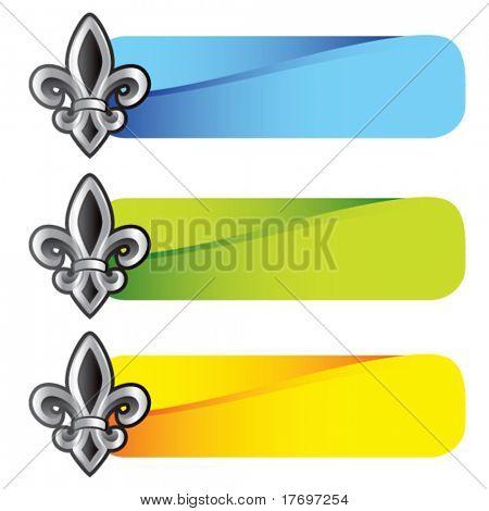 fleur de lis symbol on colored tabs