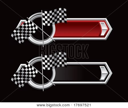 racing checkered flags on ribbon banner