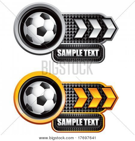 soccer ball on glossy arrow web button colored gold