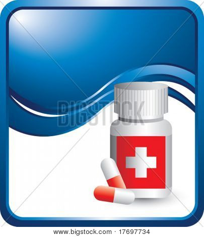 medicine bottle or pill bottle on blue wave background