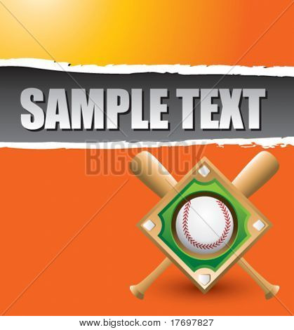 baseball diamond on ripped gold background