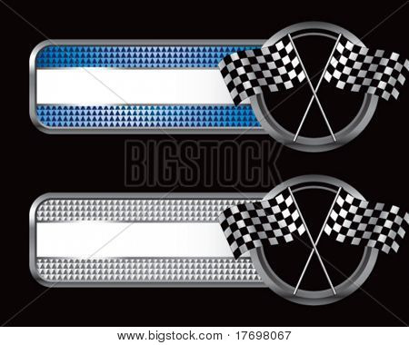 racing checkered flags on diamond textured banners