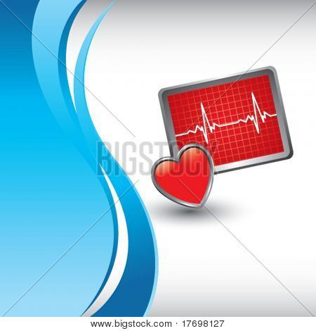 heart monitor on vertical blue wave