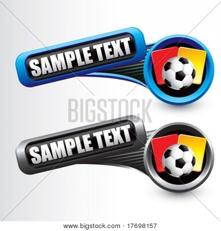 soccer ball with red and yellow cards on tilted banners