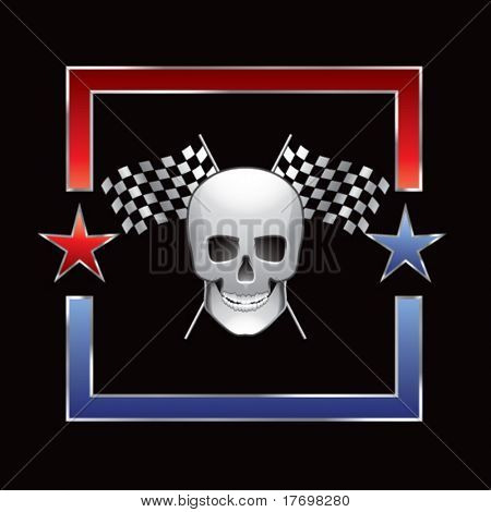 skull head with crossed checkered flags on red and blue star outline