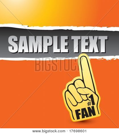 fan foam hand on orange ripped banner