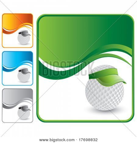golf ball with visor on wave backgrounds