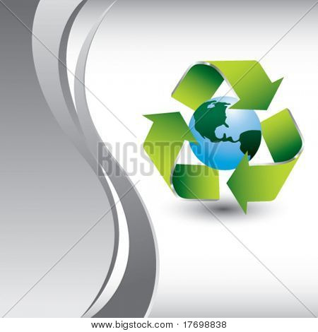 symbol of green planet on vertical wave background