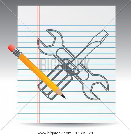wrench and screwdriver on notebook paper