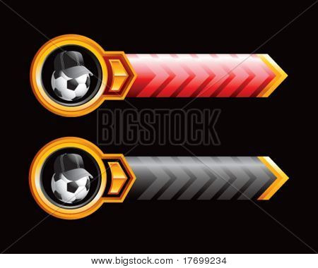 soccer referee ball on arrow banners
