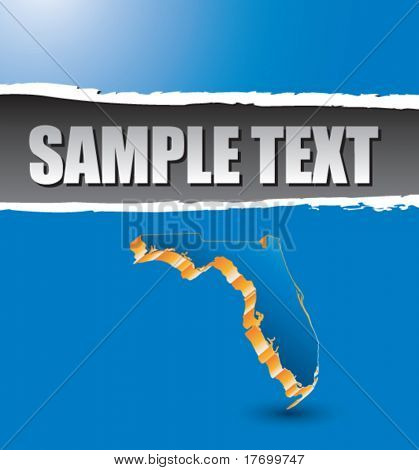 florida state shape on blue ripped banner