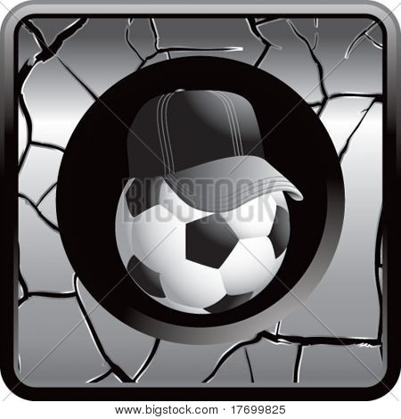 soccer referee ball on cracked silver web icon