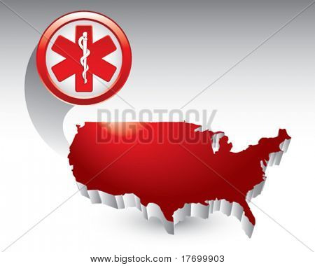 caduceus medical symbol featured with the united states