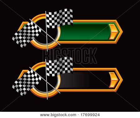 checkered racing flags on ribbon banner