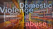 image of domestic violence  - Concept diagram wordcloud illustration of domestic violence abuse glowing light - JPG