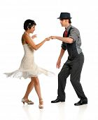 foto of ballroom dancing  - Young couple dancing isolated over white background - JPG