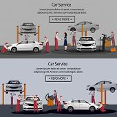Car Repair, Flat Horizontal Banner, Maintenance Of Tires, Workers In The Process Of Car Repair, Pain poster