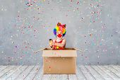Funny Kid Clown Playing Indoor poster