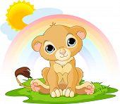 Постер, плакат: Милый характер счастливым львенка Солнечный день