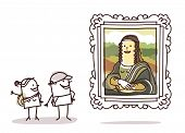 image of mona lisa  - couple of tourists watching the Mona Lisa - JPG