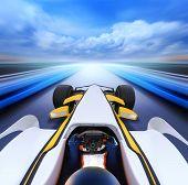 Постер, плакат: болид вождение на высокой скорости в пустой дороге motion blur